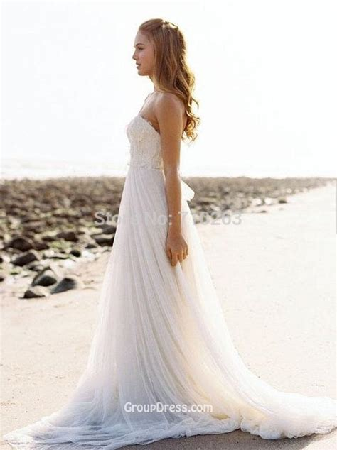 ivory strapless chiffon empire a line summer wedding