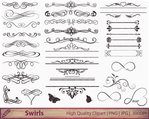 wedding invitation swirls clipart flourish clip