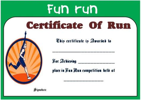 fun run certificate template 14 editable free word