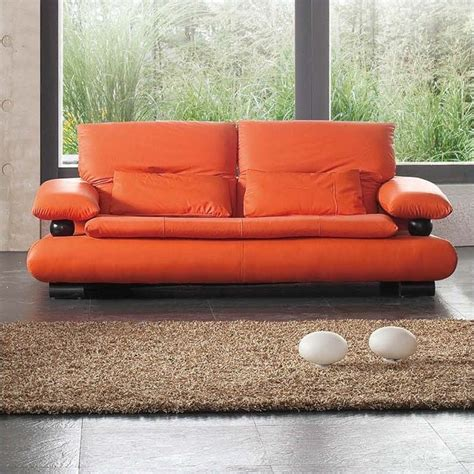 orange leather sofas esf style leather sofa in orange 4103orange
