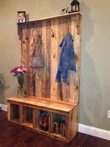 storage bench made from pallets pallet tree shoe rack or coat rack 101 pallets