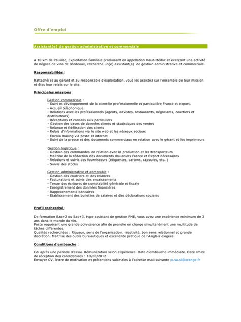 Exemple Lettre De Motivation Assistant Administrative Offre Emplo Assistante Administrative Pdf Par Maison Fichier Pdf