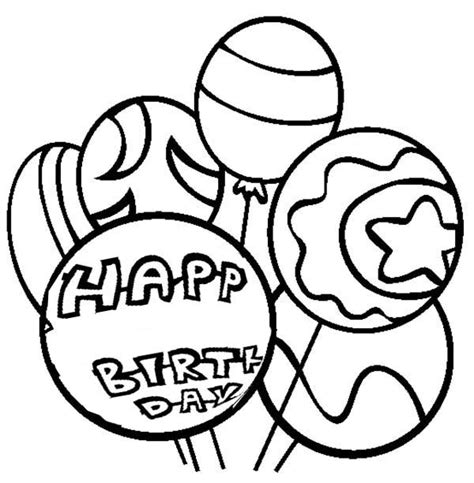 happy birthday balloon coloring page coloring pages of