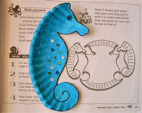 Seahorse Paper Plate Craft - how to make plastic or paper plate animals templates