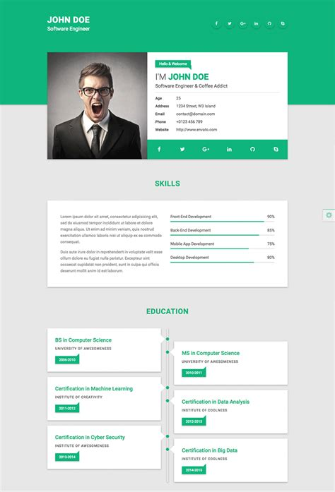 18 Best Html Resume Templates For Awesome Personal Websites 2018 Webpage Template Html