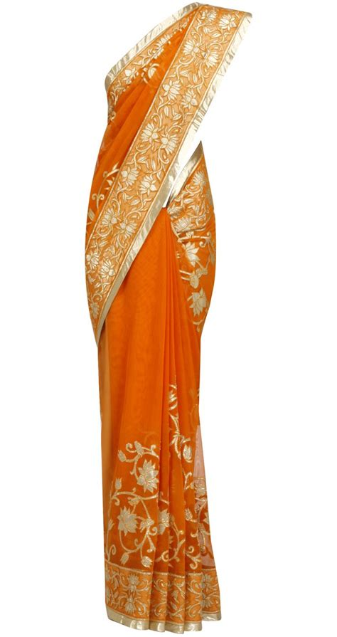Sari Gold rohit bal orange gold applique sari indian couture