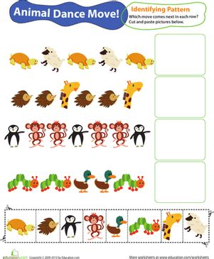 identifying patterns worksheets for grade 1 identifying patterns animal dance moves worksheet