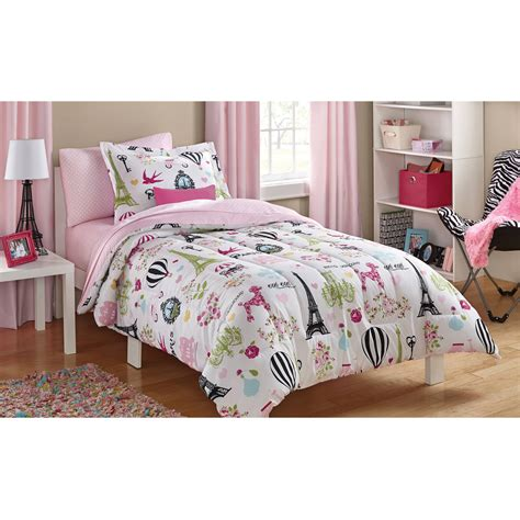 walmart girls bedding mainstays kids daisy floral bed in a bag bedding set walmart com