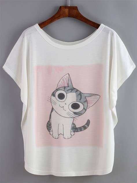 cat print sleeve t shirt bat sleeve cat print t shirt shein sheinside