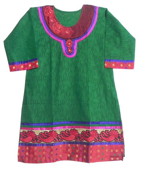 embroidery design for ladies kurta self design green kurta with red embroidery
