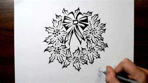 tribal christmas how to draw a wreath tribal design style