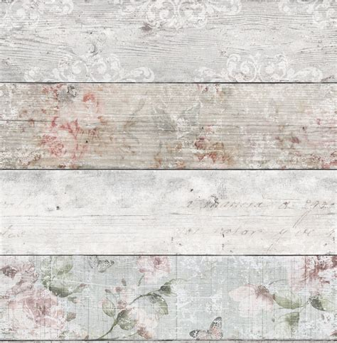grey pink distressed floral wood flat wallpaper