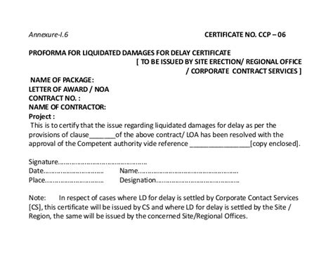 Contract Closing Ppt Construction Liquidated Damages Letter Template