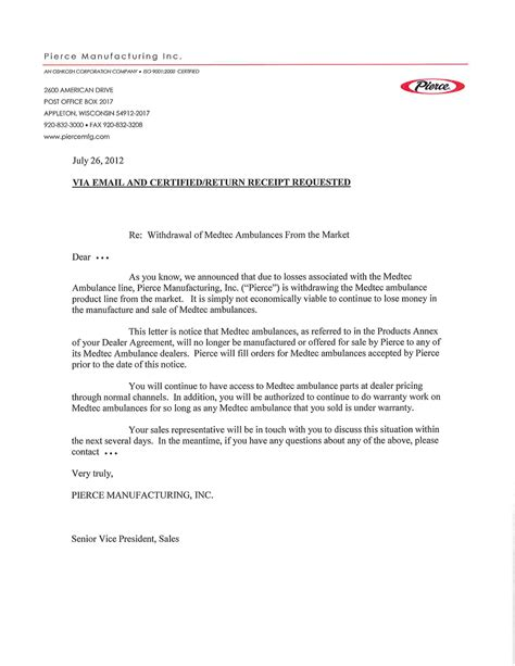 Sle Of Withdrawal Letter From Sacco Oshkosh To Shutdown Medtec Ambulance More 171 Chicagoareafire