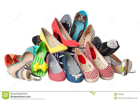 lade a pile pile of various summer shoes with path stock image