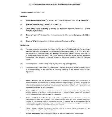 what is template in shareholder agreement templates 9 free word pdf