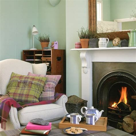 living room decor ideas uk living room with fireplace armchair and tartan