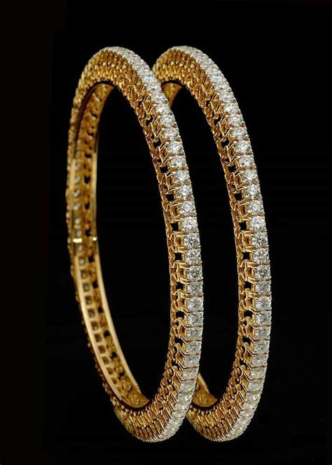 real gold evergreen single line party wedding bangles pair in 18k