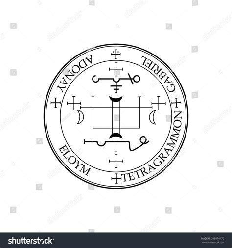 sigil archangel gabriel magical amulets king stock vector