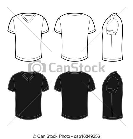 Kaos Para Desainer Grafis Putih clipart vector of front back and side views of blank t