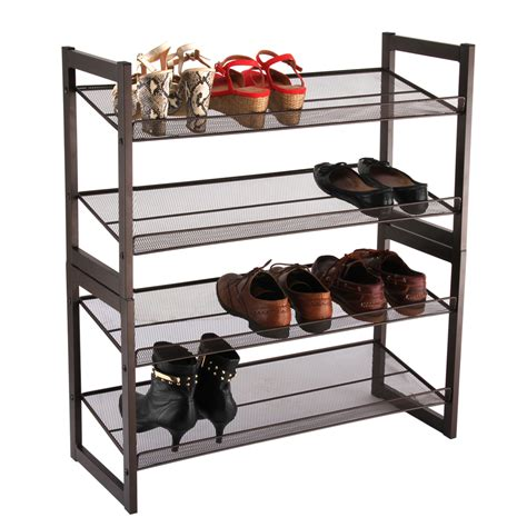 metal shoe rack 4 tier storage organiser stand shelf holds