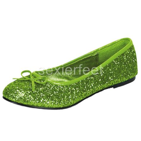 lime green shoes for pleaser s glitter flats shoes star16g ebay