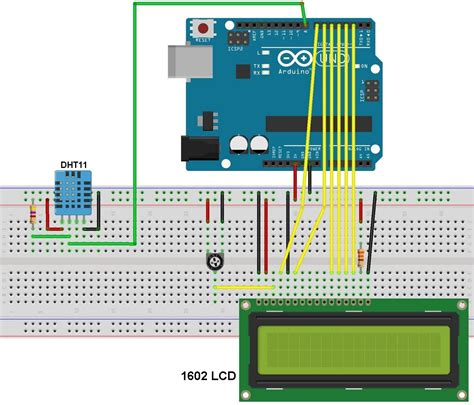 sensor resistor circuit arduino interfacing with dht11 sensor and lcd simple projects