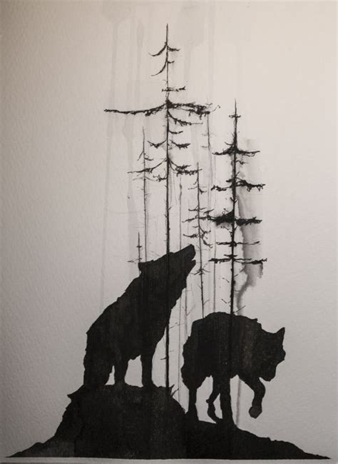 wolf silhouette tattoo best 25 wolf tattoos ideas on forest