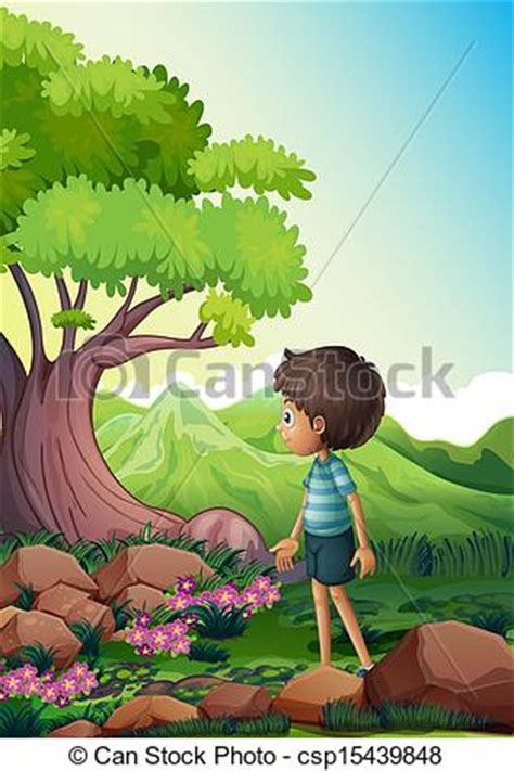 boy   giant tree   forest illustration