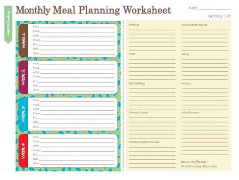 free printable meal planning worksheet saving money by planning meals