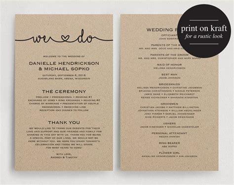 printable kraft card wedding programs instant download printable template
