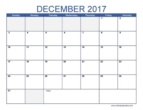 Calendar December 2017 Printable December 2017 Calendar Printable When Is Calendar