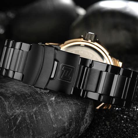 Jam Tangan Golden Stainless Steel Analog Quartz Brace navi jam tangan analog pria 9085 black jakartanotebook