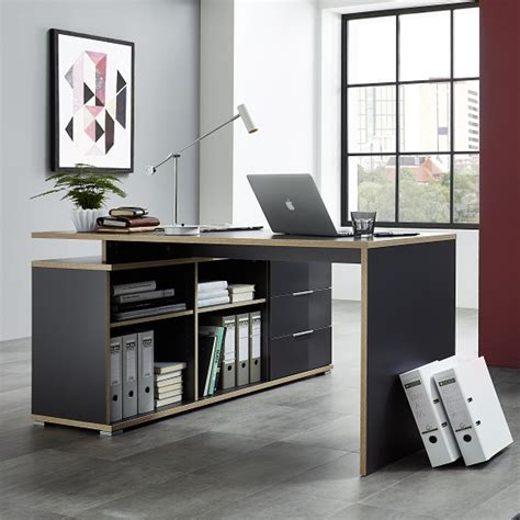 wooden corner computer desk alantra wooden corner computer desk in anthracite with