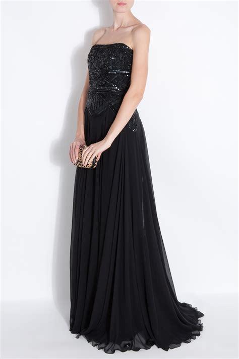 elie saab beaded dress elie saab strapless 12 beaded gown in black lyst