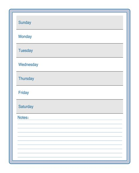 free student planner template 6 best images of printable weekly schedule for students