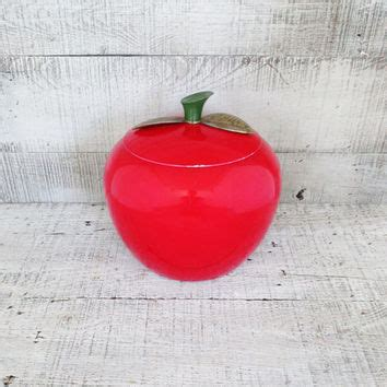 vintage red apple canisters apple containers retro kitchen shop metal kitchen canisters on wanelo