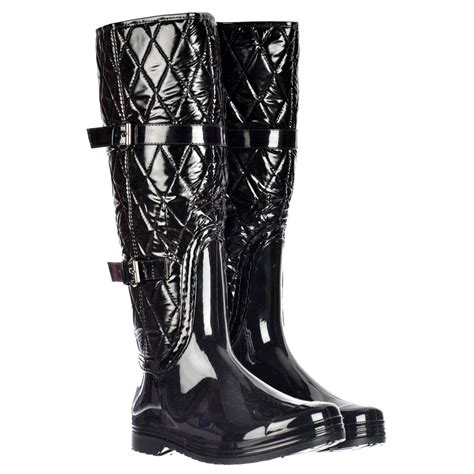 Quilted Wellington Boots by Shoekandi Padded Inner Flat Quilted Wellington