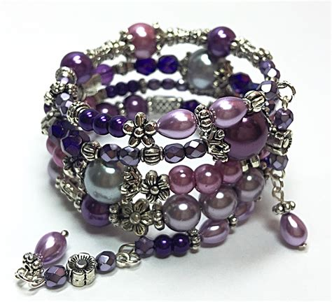 purple wrap bracelet beaded memory wire bracelet bohemian