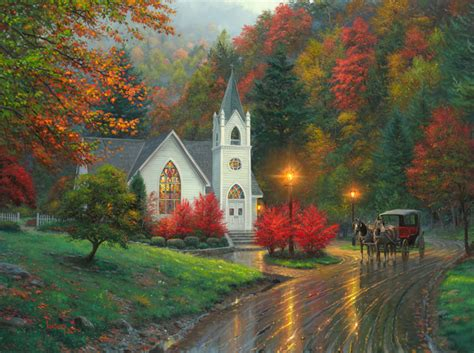 Country Cottage Cross Stitch autumn chapel by mark keathley parsons thomas kinkade