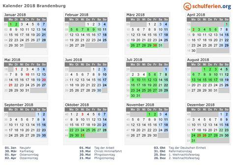 Kalender 2018 Mit Feiertagen Brandenburg Kalender 2018 Ferien Brandenburg Feiertage