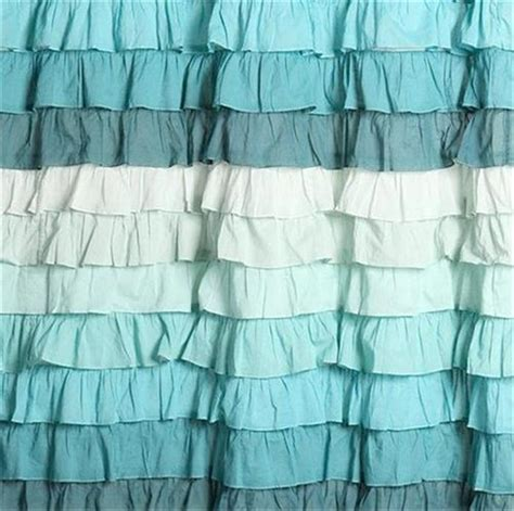 teal ruffle shower curtain shabby beach cottage chic dreamy ruffled green teal