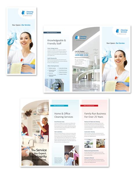 janitorial flyer templates cleaning janitorial services tri fold brochure template