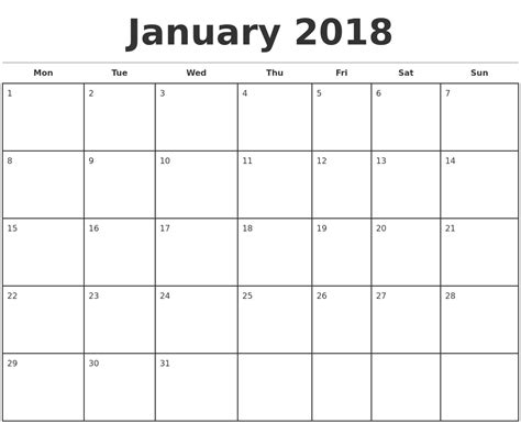 printable monthly calendar starting monday january 2018 monthly calendar template