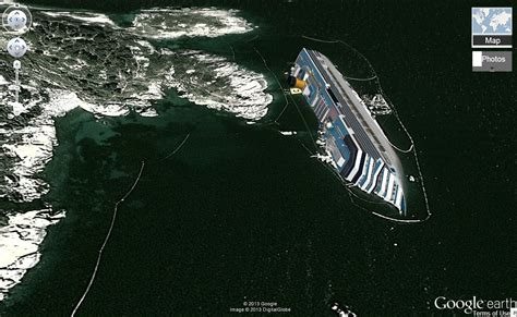 google maps boat navigation see haunting images of costa concordia shipwreck on google