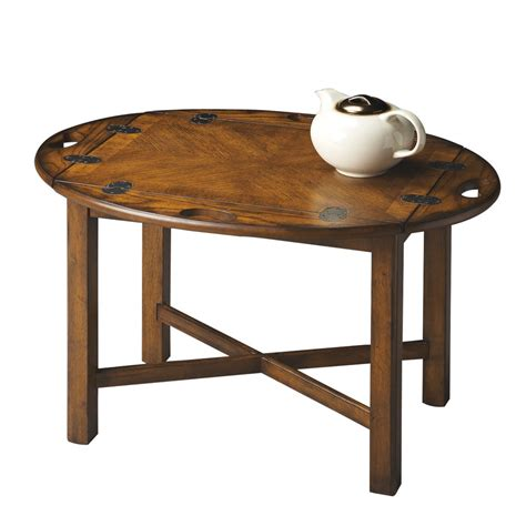 Butler Coffee Table Shop Butler Specialty Masterpiece Vintage Oak Oval Coffee Table At Lowes