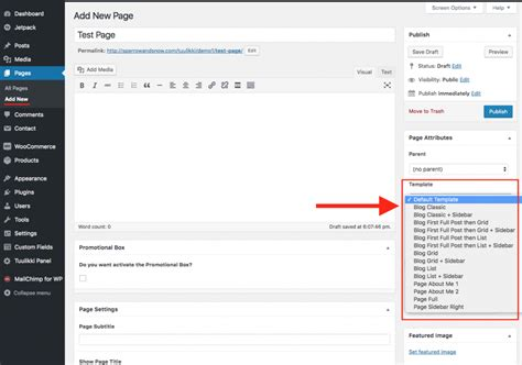 How To Change The Page Template 171 Tuulikki Documentation Change Page Template