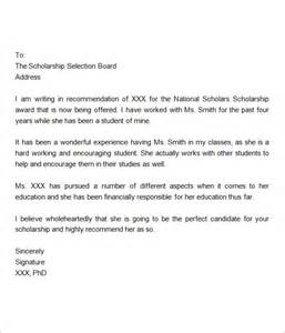 Scholarship Letter Of Recommendation From Employer Exles Sle Letter Of Recommendation For Scholarship 10 Free Documents In Word