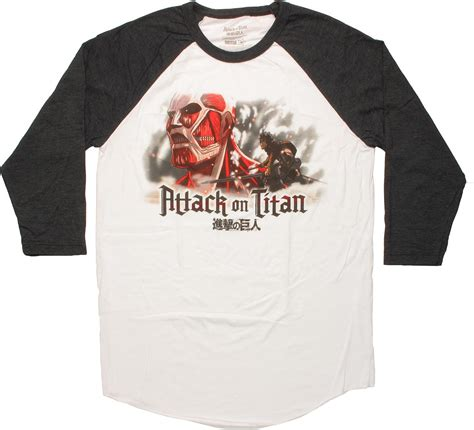 attack on titan 05 raglan attack on titan colossal fight raglan t shirt