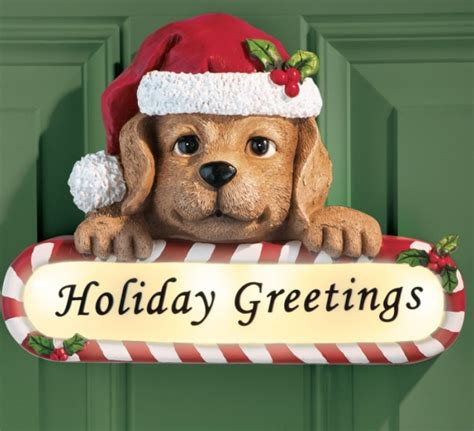 motion activated puppy holiday greetings door decor